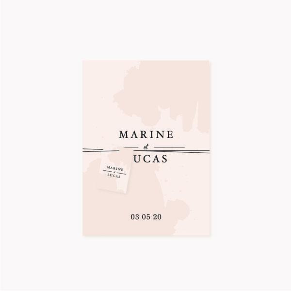 Étiquette personnalisée perforée faire-part mariage, blush couleurs rose, rose poudré, rose clair, blanc, mariage thèmes doux, romantique