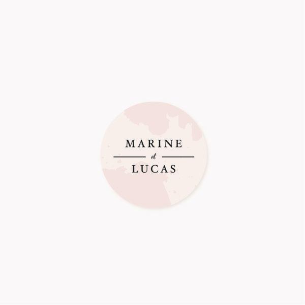 Étiquette adhésive enveloppe mariage blush, rose, rose poudré, rose clair, blanc, mariage aux thèmes doux, romantique