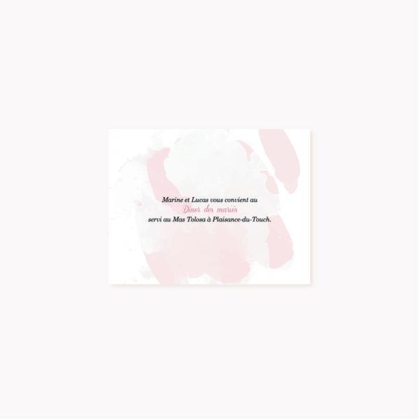 Invitation dîner mariage blush couleurs rose, rose poudré, rose clair, blanc, mariage thèmes doux, romantique