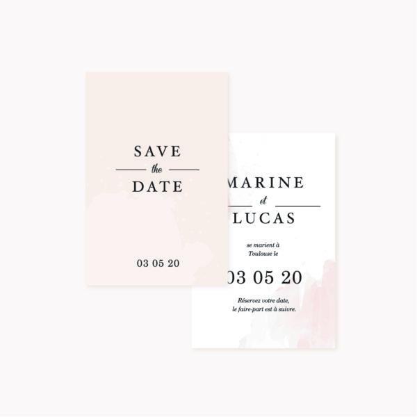Save the date mariage blush couleurs rose, rose poudré, rose clair, blanc, mariage thèmes doux, romantique