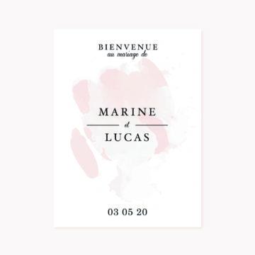 Panneau accueil mariage blush couleurs rose, rose poudré, rose clair, blanc, mariage thèmes doux, romantique