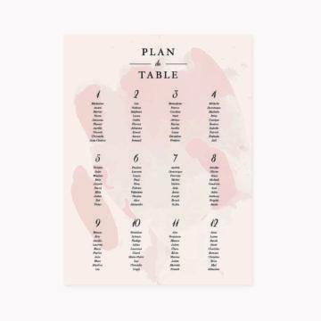 Panneau plan de table mariage blush couleurs rose, rose poudré, rose clair, blanc, mariage thèmes doux, romantique