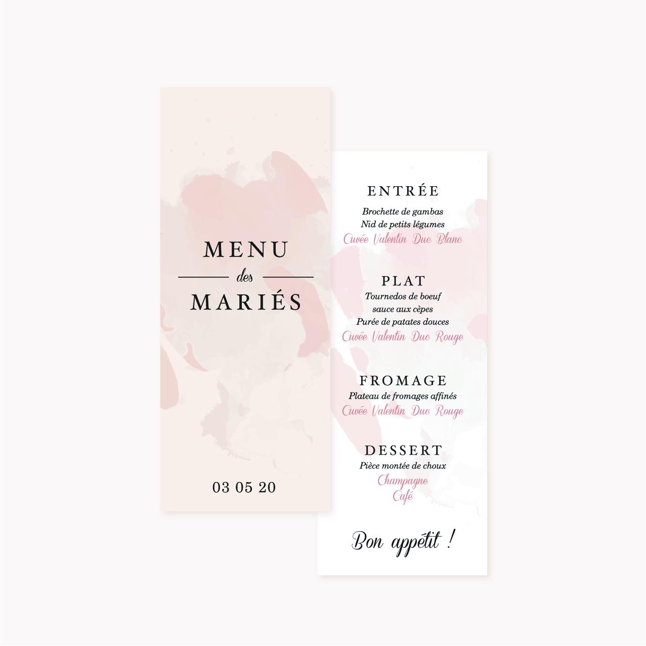 Menu individuel invités mariage blush couleurs rose, rose poudré, rose clair, blanc, thèmes doux, romantique