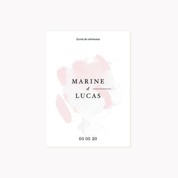 Livret cérémonie mariage blush couleurs rose, rose poudré, rose clair, blanc, mariage thèmes doux, romantique