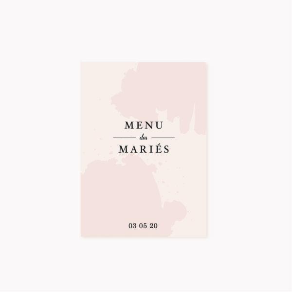 Menu mariage blush couleurs rose, rose poudré, rose clair, blanc, mariage thèmes doux, romantique