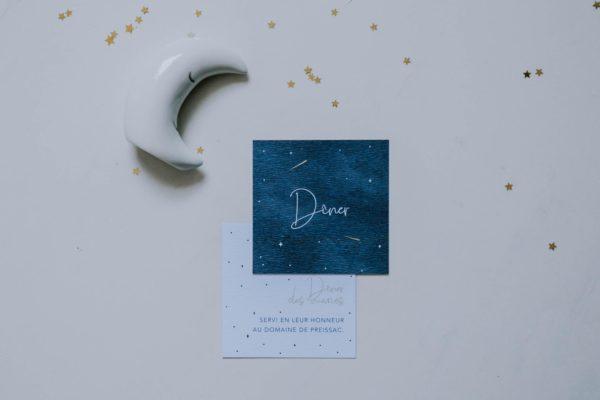 Carton invitation dîner de mariage aux thèmes nuit, étoiles, nuages, rêves, comètes et couleurs gris, blanc, or