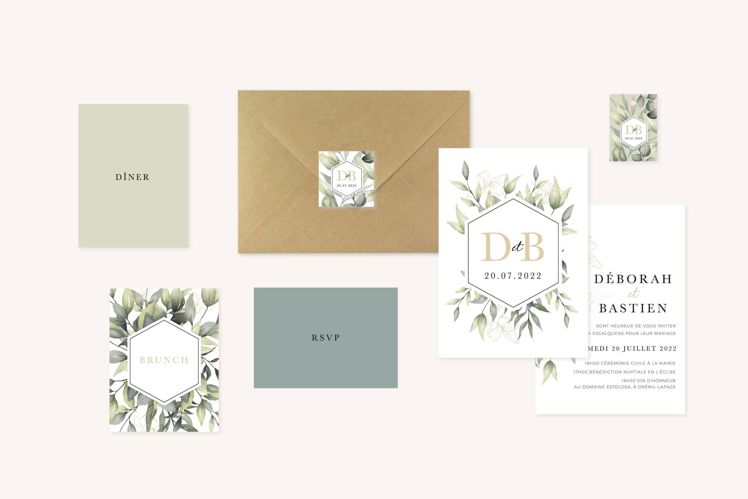 Faire-part mariage végétal eucalyptus