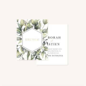 Carton brunch faire-part eucalyptus vegetal nature mariage
