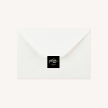 Enveloppe blanche étiquette art déco
