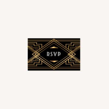 rsvp faire-part mariage art deco gatsby noir or dore
