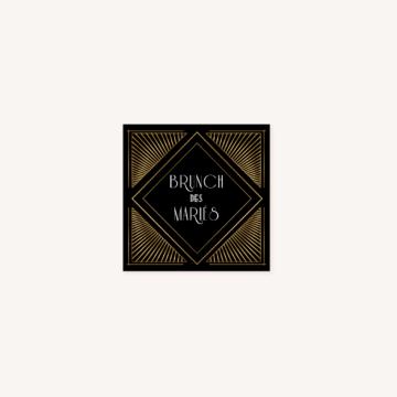 carton brunch faire-part mariage art deco gatsby noir or dore