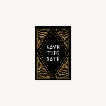 save the date mariage art deco gatsby noir or dore