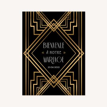 panneau accueil bienvenue mariage art deco gatsby noir or dore
