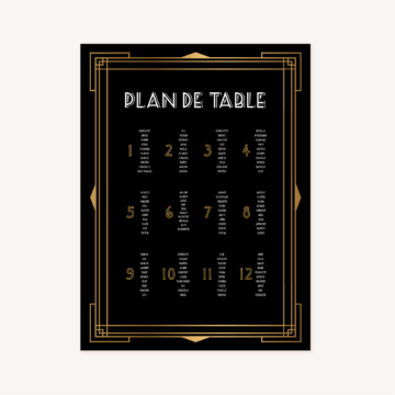 panneau plan de table mariage art deco gatsby noir or dore
