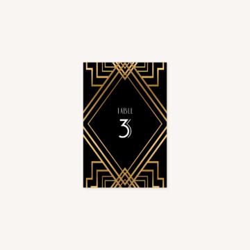 numéro de table mariage art deco gatsby noir or dore