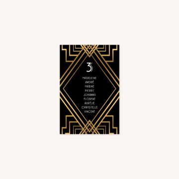 plan de table mariage art deco gatsby noir or dore