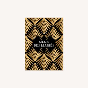 menu mariage art deco gatsby noir or dore