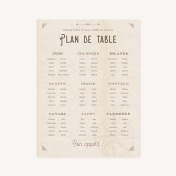 Panneau Plan de table mariage voyage vintage